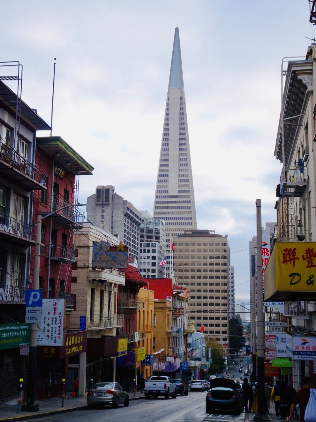 Transamerica Pyramid view from Chinatown San Francisco
