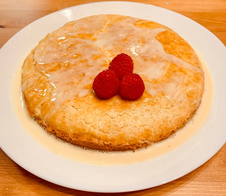 Gâteau Basque with warm sherry cream