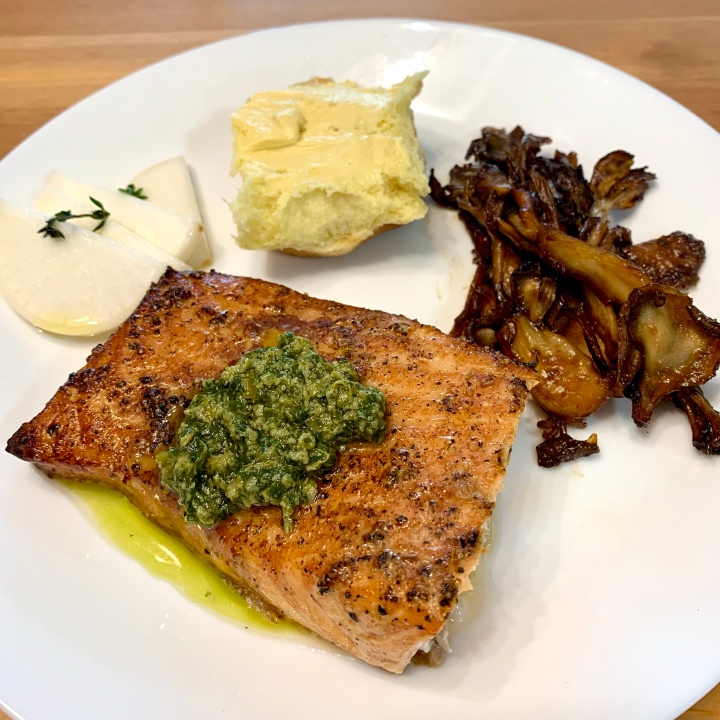 Cedar planked shiso pesto salmon & miso maitake mushrooms