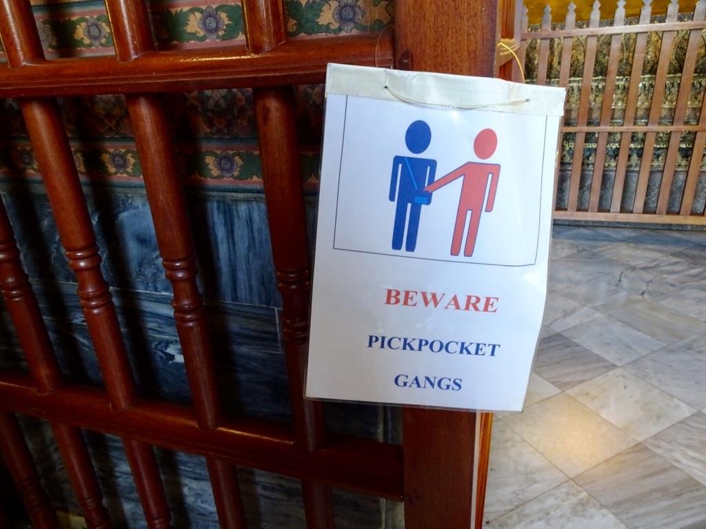 Protect your pockets at Wat Pho, Bangkok.